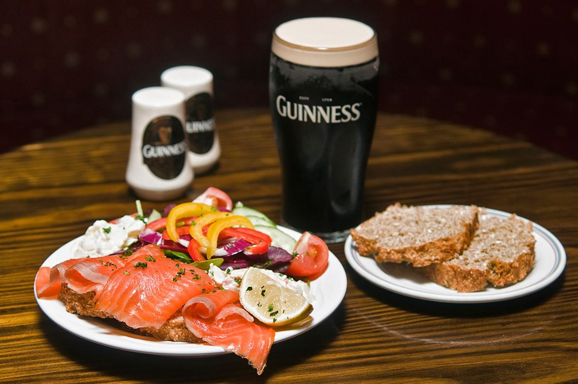 Connemara Smoked Salmon Salad, Irish Soda Bread and Guinness
